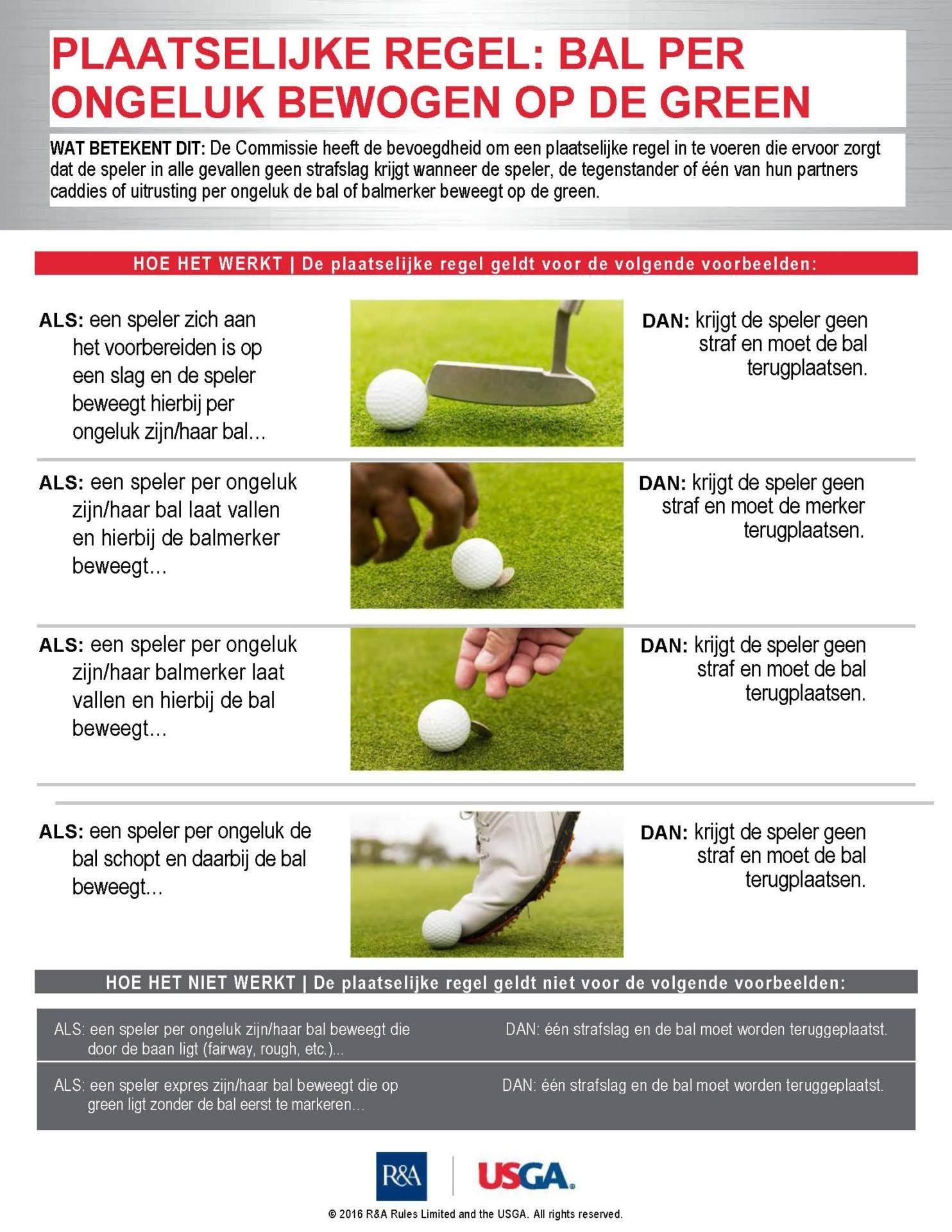 Plaatselijke regel: Bal per ongeluk bewogen op de green